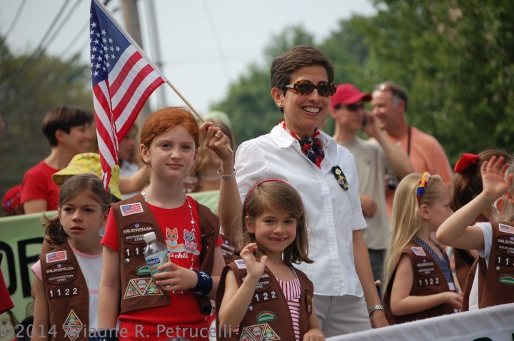 Marching proudly in the 4th of July parade in Westport, CT with my Girl Scout Troop.